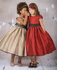 Girls Slubbed Satin Occasion Dress w. Tulip Sleeves KD406