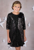 Girls Black Sequined Sheath Dress w. Three-Quarter Sleeves KD408