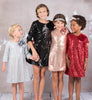 Girls Sequined Sheath Dress w. Three-Quarter Sleeves KD408