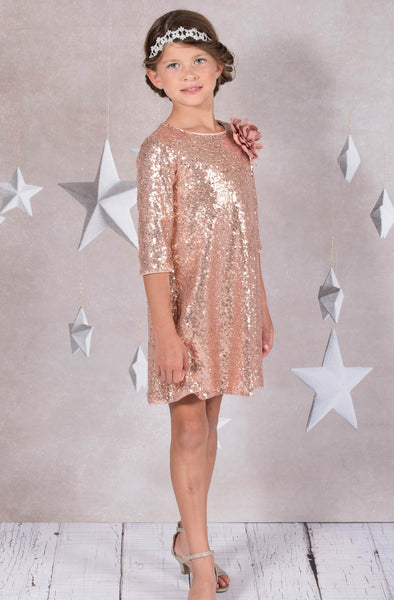 Rose Pink Girls Sequined Sheath Dress w. Three-Quarter Sleeves KD408