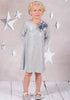Girls Silver Sequined Sheath Dress w. Three-Quarter Sleeves KD408