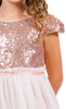 Blush Pink Sequined Cap Sleeve Girls Dress w. Mesh Skirt 2T-12  KD410