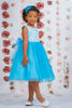 Aqua Blue Layered Tulle Girls Dress w. Bridal Lace Bodice 2T-12  KD414