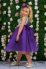 Girls Purple Layered Tulle Dress w. Bridal Lace Bodice 2T-12  KD414