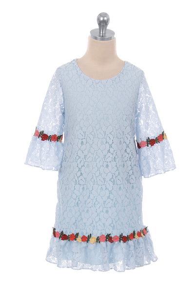 Light Blue Lace Shift Dress w. 3/4 Bell Sleeves & Flower Trim 2T-8  KD416