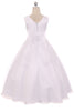 White A-Line Girls Formal Dress w. Lace Bodice & Organza Skirt KD418