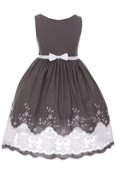 Girls Grey Cotton Dress with Sheer Lacy Embroidery  KD424