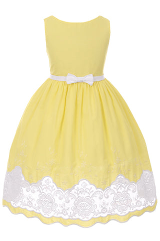 Girls Yellow Cotton Dress with Sheer Lacy Embroidery  KD424