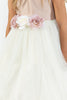 Dusty Rose Faux Silk Girls Dress with Ivory Tulle Mesh Skirt  KD428