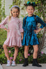 Rose Pink Velvet Girls Flounce Hem Dress w. 3/4 Ruffle Sleeves  KD430