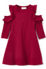 Solid Ruffle Cold Shoulder Burgundy Casual Dress Girls 4-14  KD434