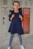 Solid Ruffle Cold Shoulder Navy Blue Casual Dress Girls 4-14  KD434