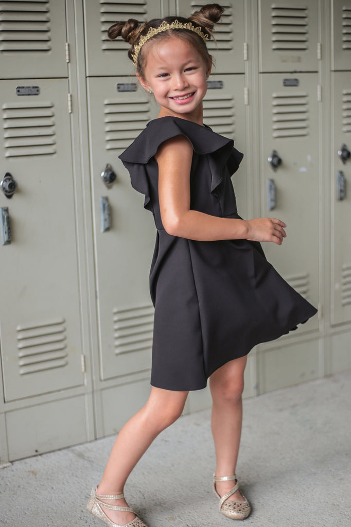 58f9050fb4 Black Flutter Skater Dress with Pleated Skirt Girls 2-12   Plus 14x ...