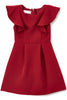 Burgundy Flutter Skater Dress with Pleated Skirt Girls KD436