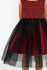 Girls Red Floral Jacquard Dress w. Black Tulle Skirt  KD446