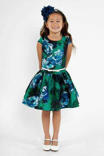 Girls Green Floral Print Mikado Dress with Low Waist  KD448