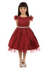 Girls Red Satin Dress w. Peeking Tulle & Rhinestones in Tiffany Setting KD450