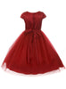 Girls Green Satin & Tulle Dress Tiffany Rhinestone Trim kd452