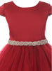 Girls Red Satin & Tulle Dress Tiffany Rhinestone Trim kd452