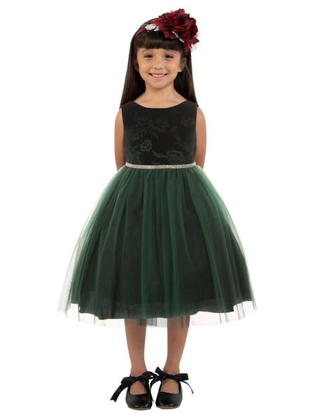 Green Embossed Floral Velvet & Tulle Girls Dress KD454