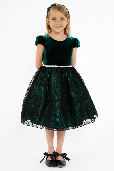 Green Velvet Dress w. Lace Overlay Satin Skirt & Rhinestone Trim  KD445