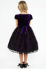 Purple Velvet Dress w. Lace Overlay Satin Skirt & Rhinestone Trim  KD445