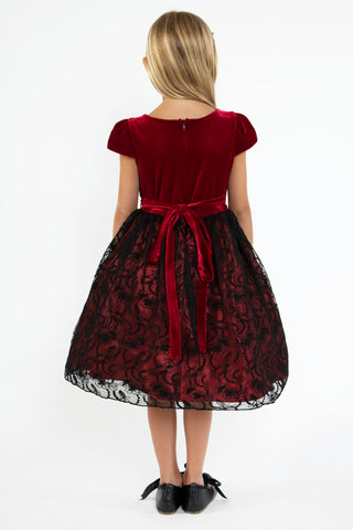 Red Velvet Dress w. Lace Overlay Satin Skirt & Rhinestone Trim  KD445