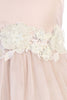 Blush Pink Glitter Tulle Girls Formal Dress with Dimensional Flowers KD458