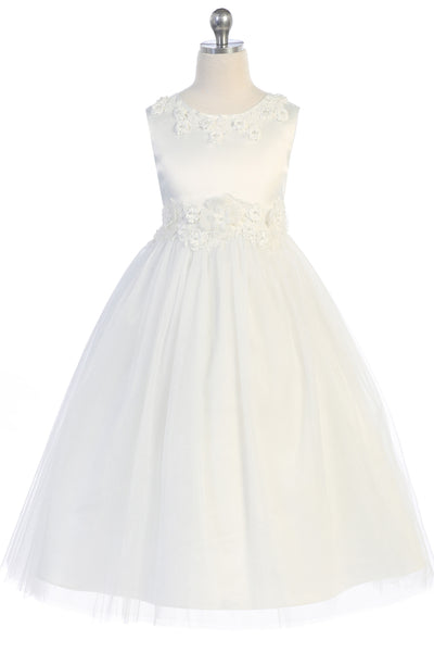 Ivory Glitter Tulle Girls Formal Dress with Dimensional Flowers KD458