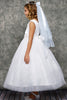 White Glitter Tulle Girls Formal Dress w. Dimensional Flowers KD458