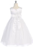 White Glitter Tulle Girls First Communion Dress w. Dimensional Flowers KD458