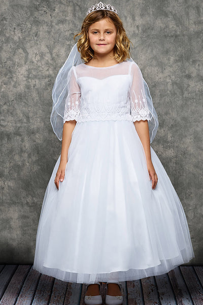 Girls Scalloped Embroidered Mesh Communion Dress w. Illusion Sleeves KD462