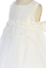 Infant Girls Off-White Silk & Tulle Dress with Pearl Rosettes KD464