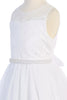 Venetian Lace Girls Communion Gown w. Tulle Skirt & Pearl Trim KD466