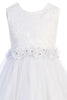 White Lace & Glitter Tulle Girls First Communion Dress w. Lettuce Hem