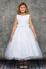 White Lace & Glitter Tulle Girls First Communion Dress w. Lettuce Hem KD468