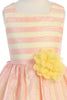 Coral & Yellow Striped Girls Dress w. Contrast Lining KD472