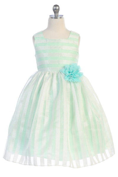 Mint & Ivory Striped Girls Dress w. Contrast Lining 2-12