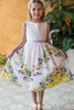 Yellow & Purple Polka Dot Girls Cotton Dress w. Floral Print KD478