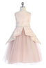 Girls Pink Bird Pattern Jacquard Peplum Dress with Mesh Skirt KD482