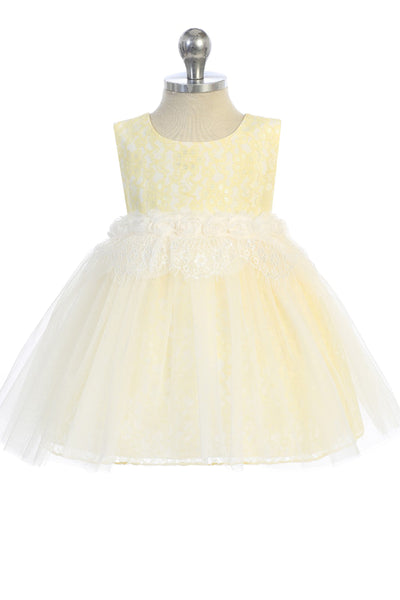Infant Girls Yellow Lace Heart Open Back Dress w. Mesh Overlay KD484