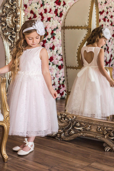 Girls Pink Lace Heart Open Back Dress w. Mesh Overlay KD484