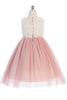 Rose Pink & Ivory Rosette Girls Dress w. Glitter Tulle Skirt KD486