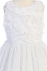 Girls White Rosette Dress with Glitter Tulle Skirt KD486