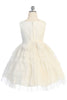 Girls Mulberry Floral Lace Dress w. Tiered Lace & Tulle Skirt KD488