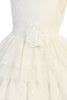Girls Ivory Floral Lace Dress with Tiered Lace & Tulle Skirt KD488