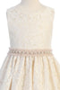 Girls V Back Champagne Lace Dress with Tulle & Pearl Trim Waist KD490