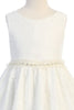 Girls V Back Off-White Lace Dress with Tulle & Pearl Trim Waist KD490