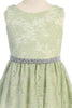 Mint Green Stretch Floral Lace Dress with Belt Girls Plus Size KD492