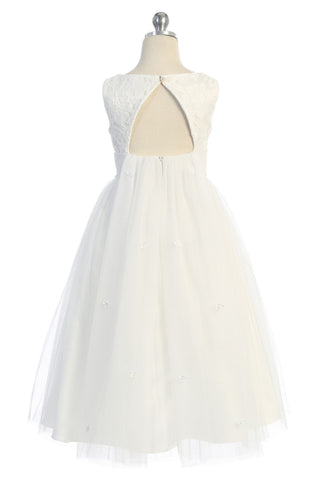 Girls Off-White Open Back Mesh Waterfall Dress w. Lace Bodice KD494